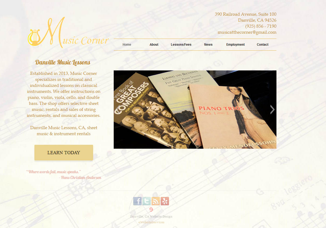 New local Danville, CA business Music at the Corner launches a website